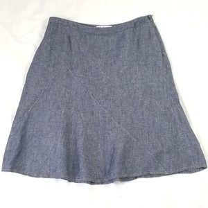 CAbi 100% Linen Chambray A-lineTopstitched Skirt